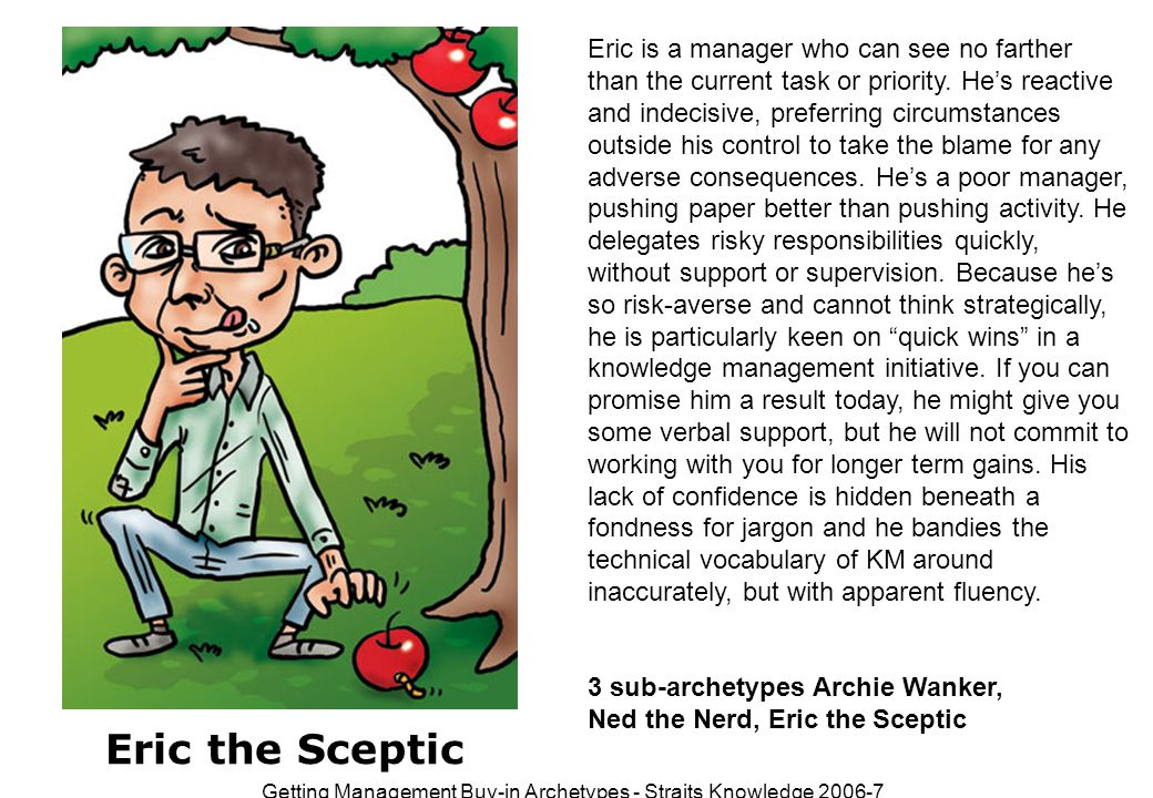 Getting Management Buy-in Archetypes - Straits Knowledge 2006-7 1 sub-archetype:Mr Eager Mr Eager is a younger member of staff who's come into your organisation full of energy and bounce.