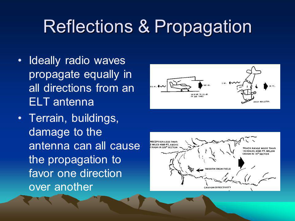 Reflections & Propagation Ideally radio waves propagate equally in all directions from an ELT antenna Terrain, buildings, damage to the antenna can al