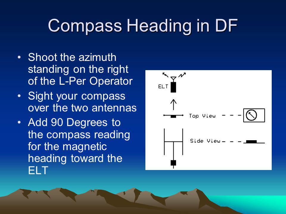 Compass Heading in DF Shoot the azimuth standing on the right of the L-Per Operator Sight your compass over the two antennas Add 90 Degrees to the com