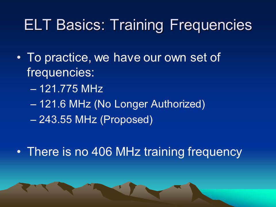 IF you can't hear the ELT… If you can't hear the ELT that means: –There is no ELT transmitting –You are too far from the ELT to hear it –The ELT is malfunctioning and not producing the swept tone –You or your L-Per are having difficulties… As a general rule, if you can't hear the ELT's swept tone, you shouldn't trust the L-Per's meter readings