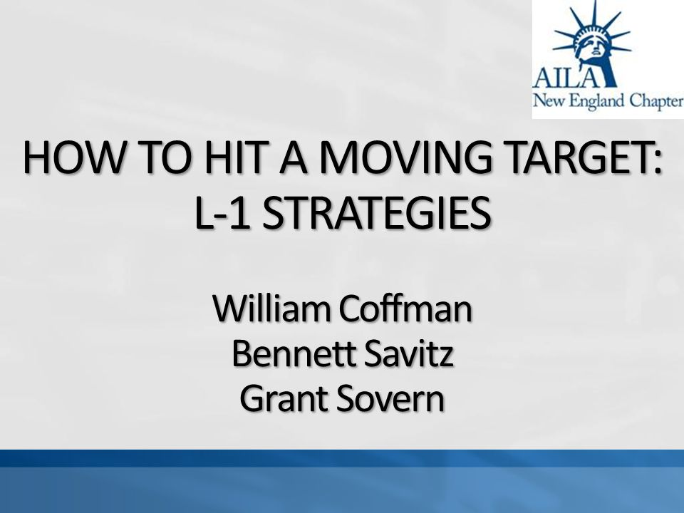 HOW TO HIT A MOVING TARGET: L-1 STRATEGIES William Coffman Bennett Savitz Grant Sovern