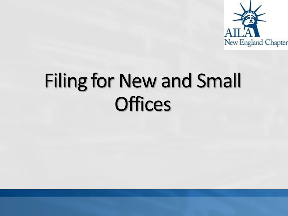 Filing for New and Small Offices