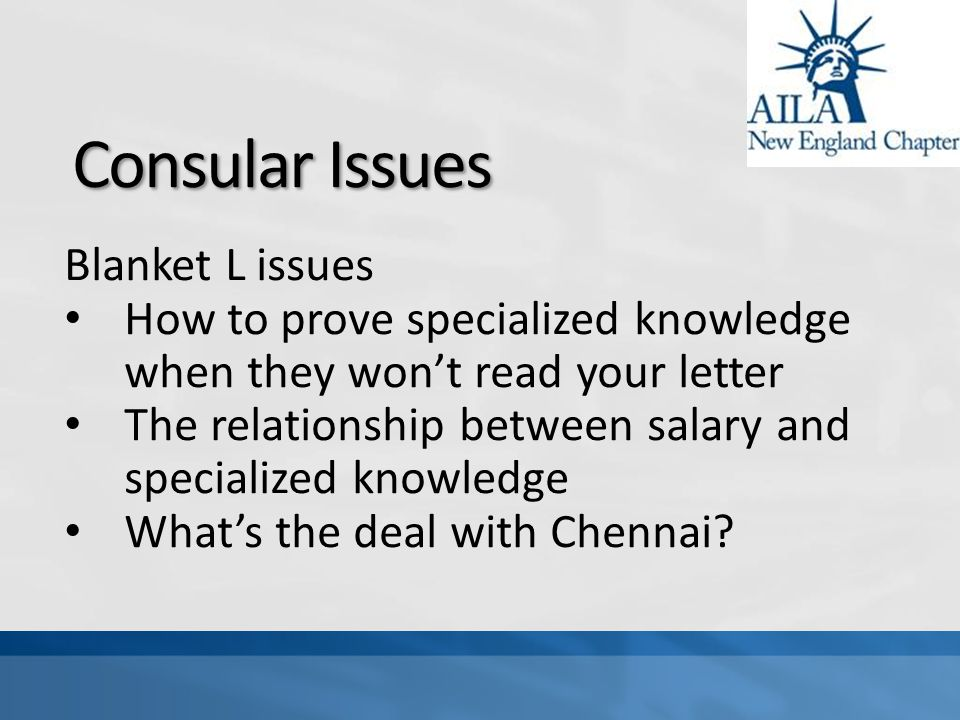 Consular Issues Blanket L issues How to prove specialized knowledge when they won't read your letter The relationship between salary and specialized knowledge What's the deal with Chennai
