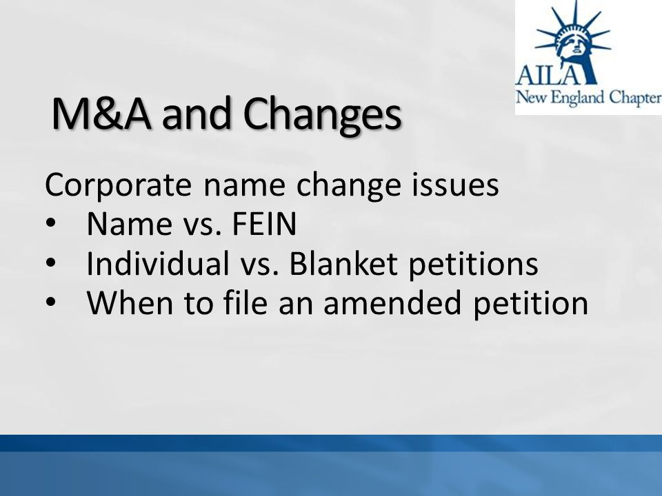 M&A and Changes Corporate name change issues Name vs.