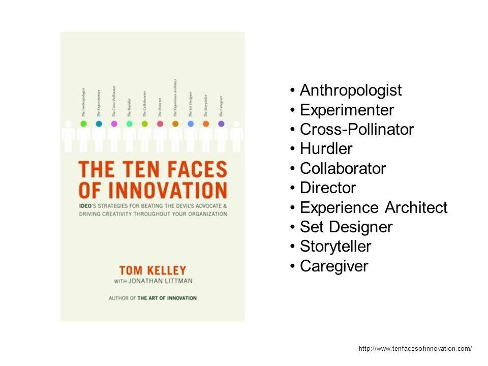 Anthropologist Experimenter Cross-Pollinator Hurdler Collaborator Director Experience Architect Set Designer Storyteller Caregiver http://www.tenfacesofinnovation.com/