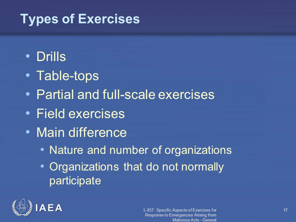 L-057: Specific Aspects of Exercises for Response to Emergencies Arising from Malicious Acts - General 17 Types of Exercises Drills Table-tops Partial and full-scale exercises Field exercises Main difference Nature and number of organizations Organizations that do not normally participate