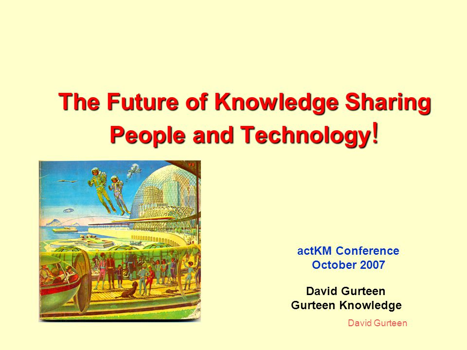 David Gurteen Other Features Polls Raffles Knowledge Seeds Knowledge Slide Show Downloads Users can post comments, events, books etc