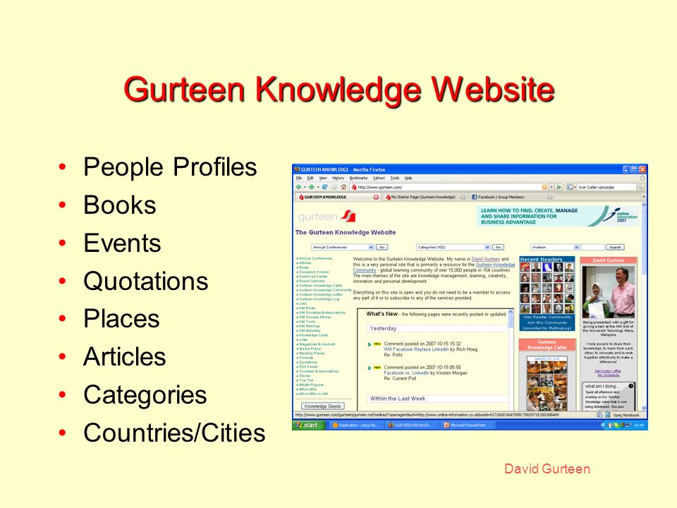 David Gurteen Gurteen Knowledge Website People Profiles Books Events Quotations Places Articles Categories Countries/Cities