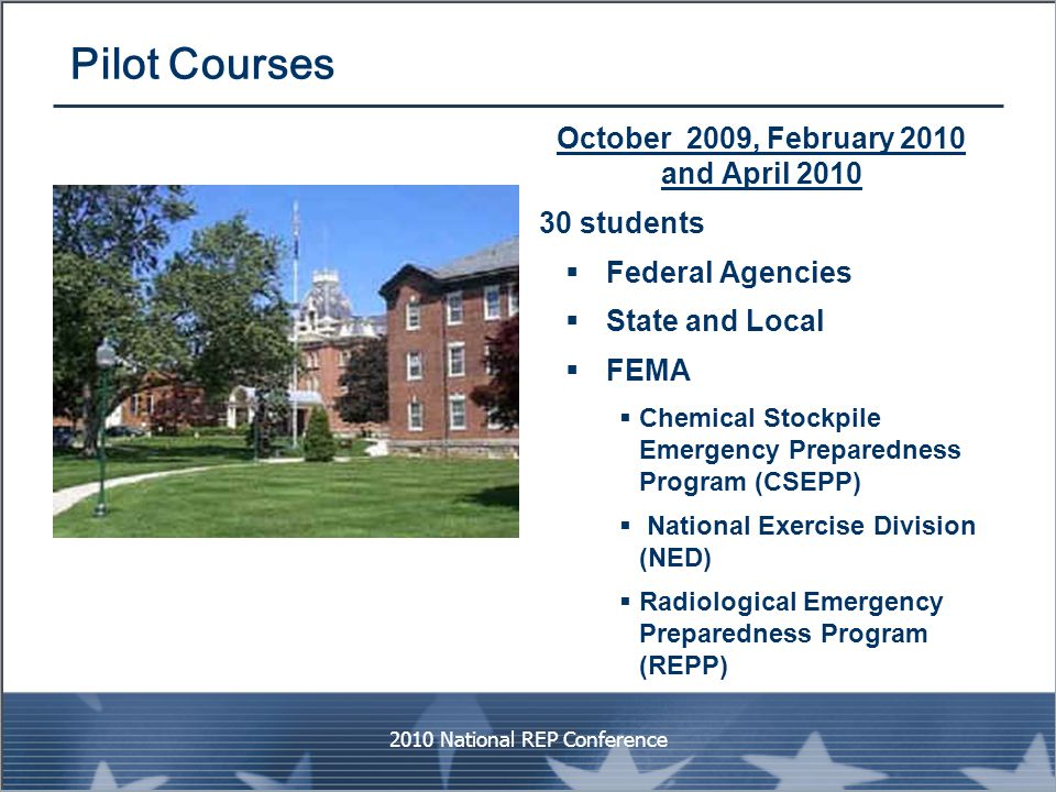Pilot Courses October 2009, February 2010 and April 2010 30 students  Federal Agencies  State and Local  FEMA  Chemical Stockpile Emergency Prepar