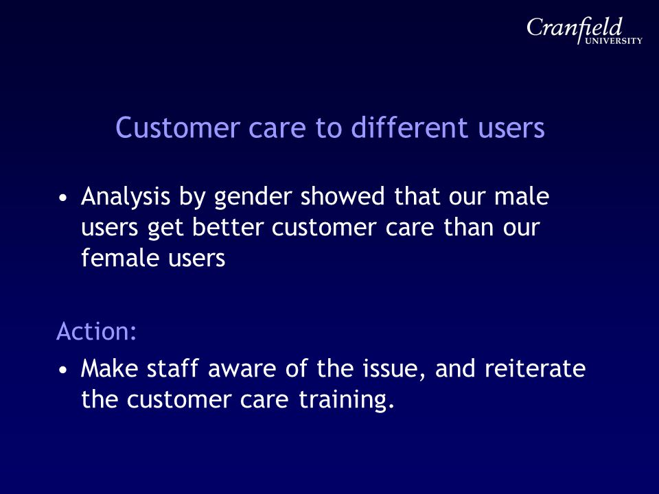 Customer care to different users Analysis by gender showed that our male users get better customer care than our female users Action: Make staff aware of the issue, and reiterate the customer care training.