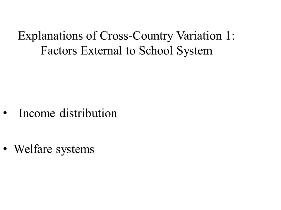 Explanations of Cross-Country Variation 1: Factors External to School System Income distribution Welfare systems