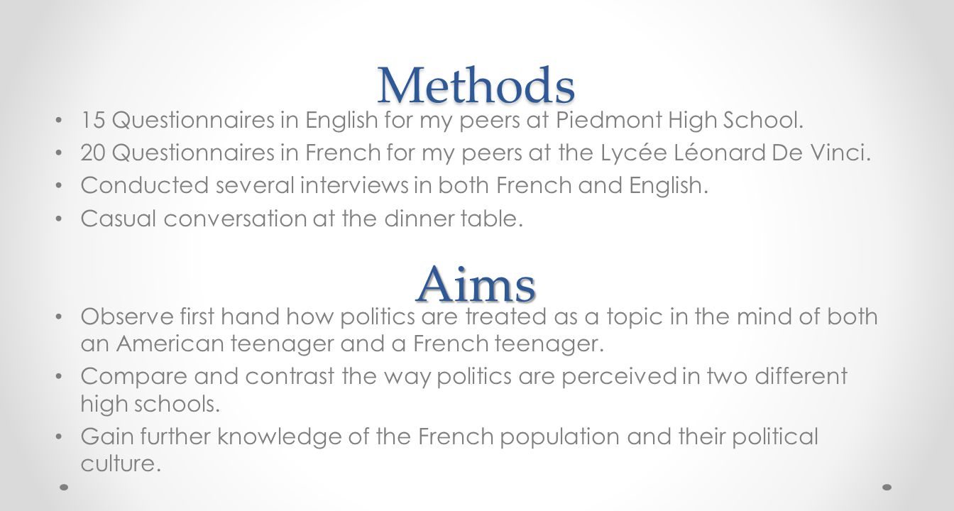 Methods 15 Questionnaires in English for my peers at Piedmont High School.