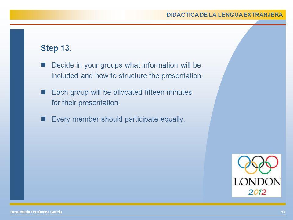 DIDÁCTICA DE LA LENGUA EXTRANJERA Step 13.