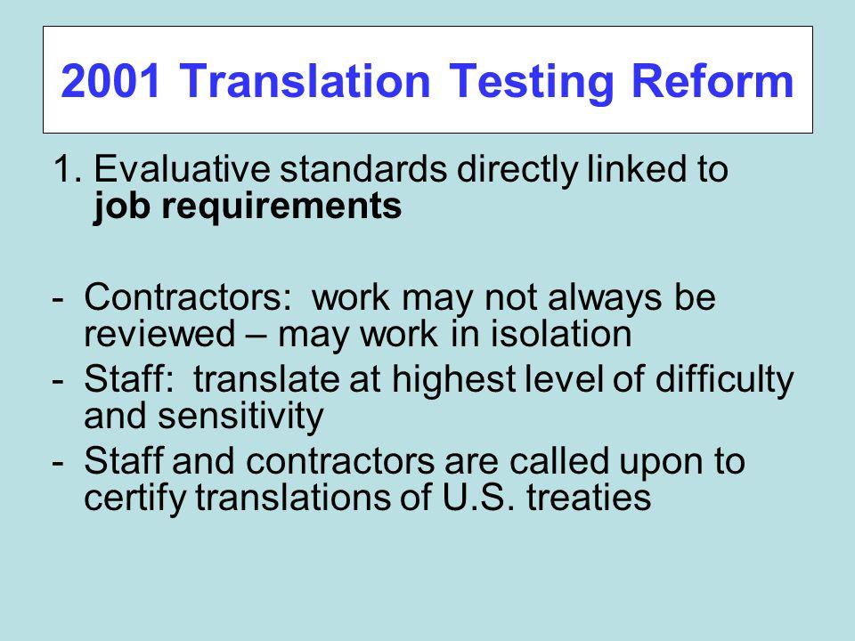 2001 Translation Testing Reform 1.
