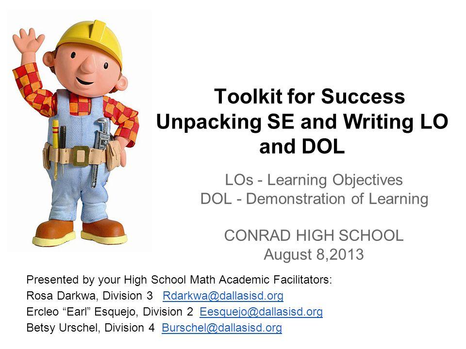 Agenda I.DISD Core Beliefs II. Unpacking Student Expectations III.