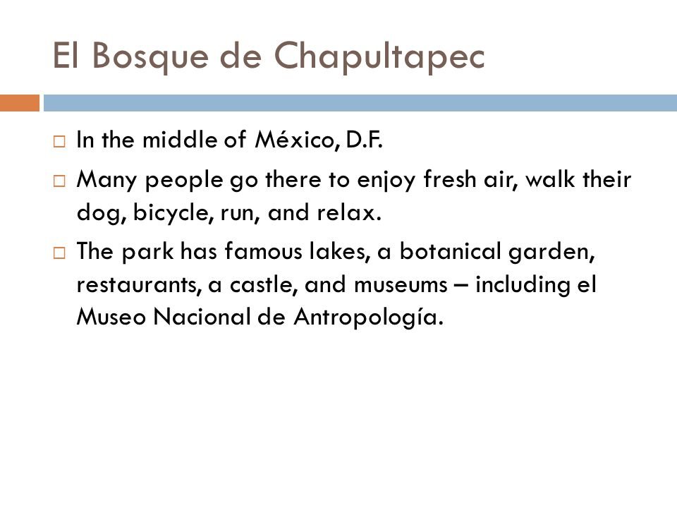 El Bosque de Chapultapec  In the middle of México, D.F.  Many people go there to enjoy fresh air, walk their dog, bicycle, run, and relax.  The par
