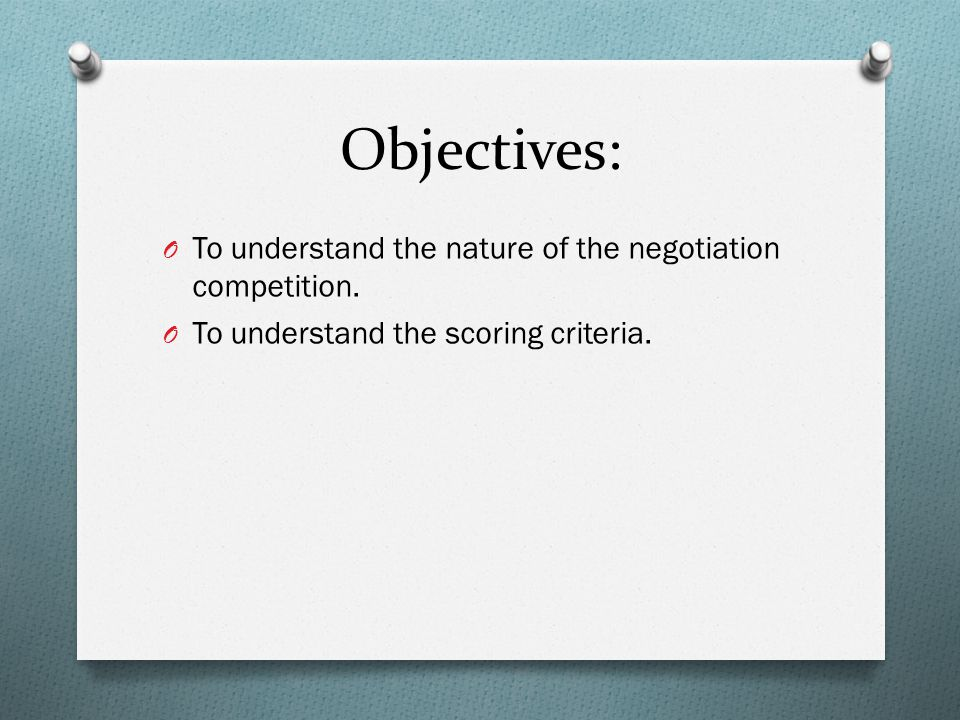 Negotiations Planning O Knowledge of the negotiation problem, in general.