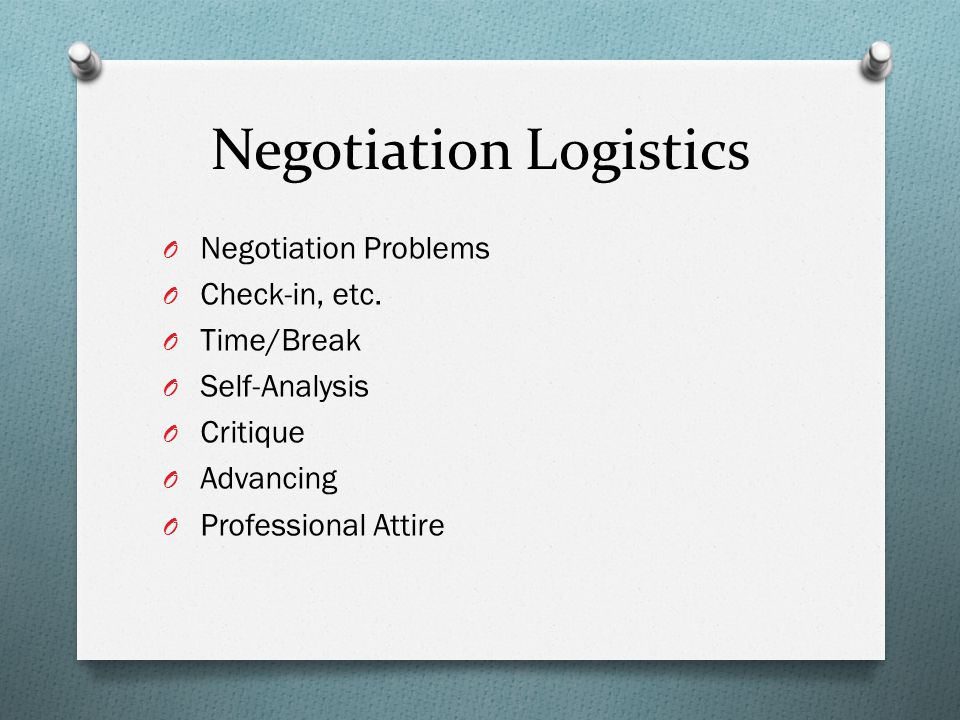 Issues to Discuss During the Negotiation O Effective agenda setting can demonstrate negotiation planning.