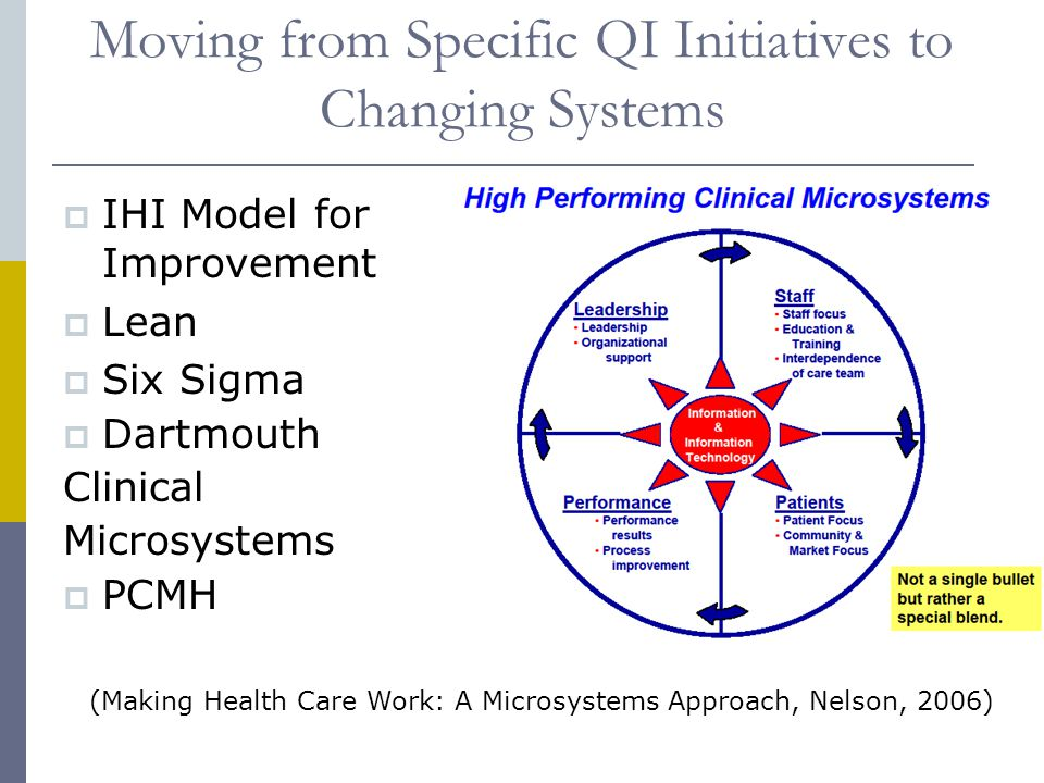 Moving from Specific QI Initiatives to Changing Systems  IHI Model for Improvement  Lean  Six Sigma  Dartmouth Clinical Microsystems  PCMH (Making Health Care Work: A Microsystems Approach, Nelson, 2006)