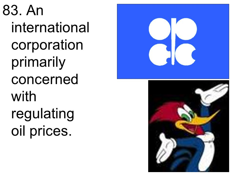 83. An international corporation primarily concerned with regulating oil prices.