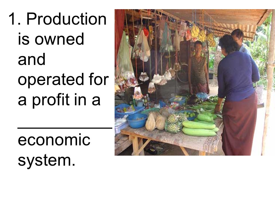 1. Production is owned and operated for a profit in a __________ economic system.
