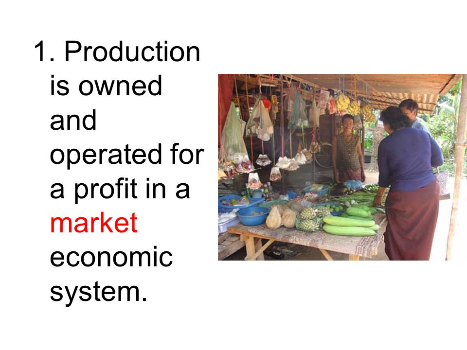 1. Production is owned and operated for a profit in a market economic system.