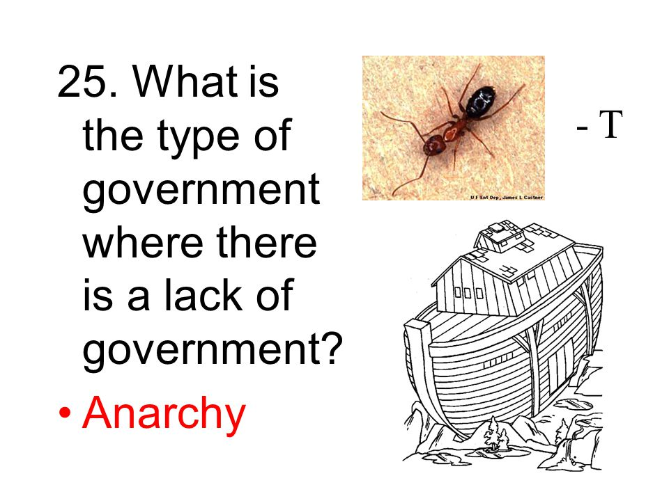 25. What is the type of government where there is a lack of government Anarchy - T