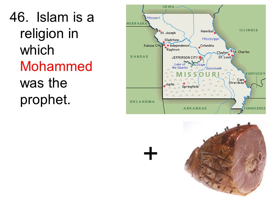 46. Islam is a religion in which Mohammed was the prophet. +