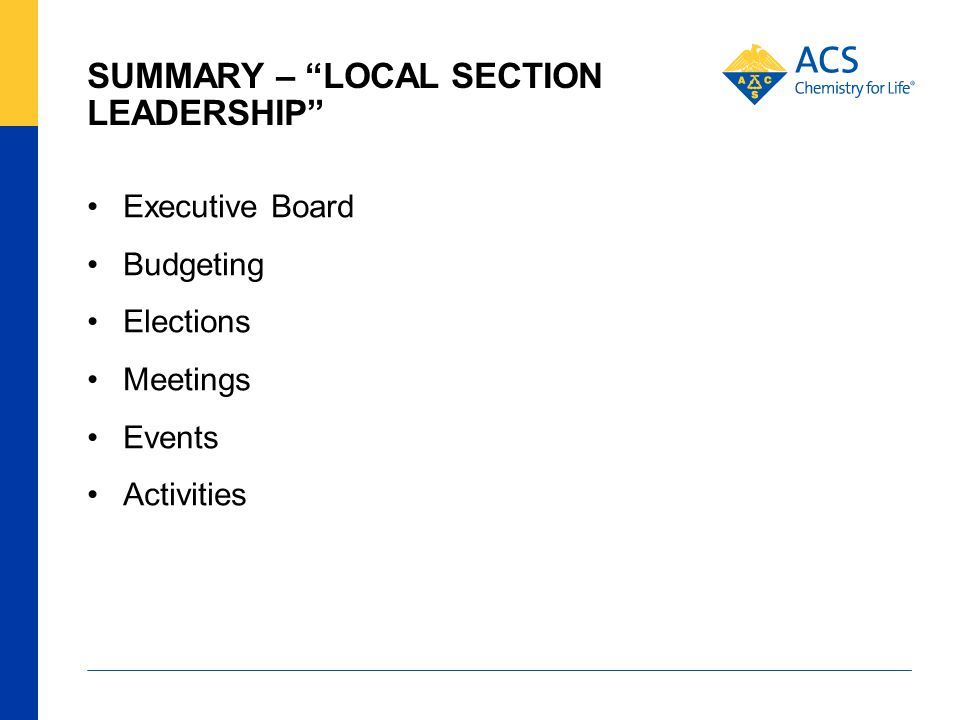 """SUMMARY – """"LOCAL SECTION LEADERSHIP"""" Executive Board Budgeting Elections Meetings Events Activities"""