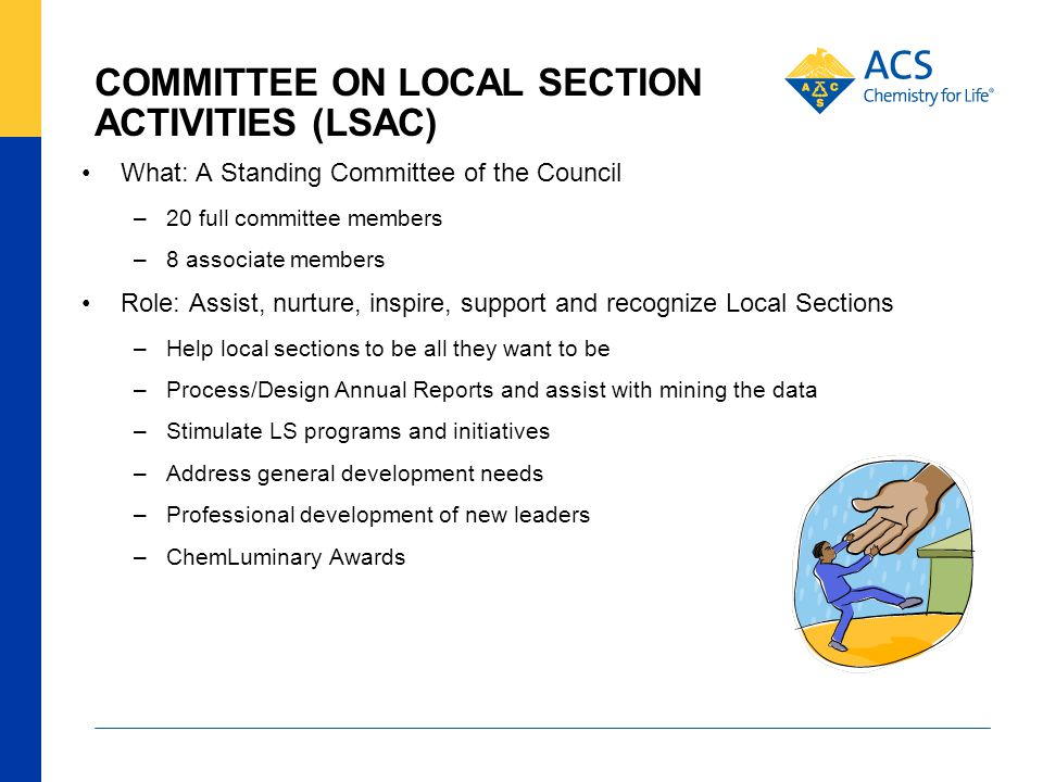 COMMITTEE ON LOCAL SECTION ACTIVITIES (LSAC) What: A Standing Committee of the Council –20 full committee members –8 associate members Role: Assist, nurture, inspire, support and recognize Local Sections –Help local sections to be all they want to be –Process/Design Annual Reports and assist with mining the data –Stimulate LS programs and initiatives –Address general development needs –Professional development of new leaders –ChemLuminary Awards