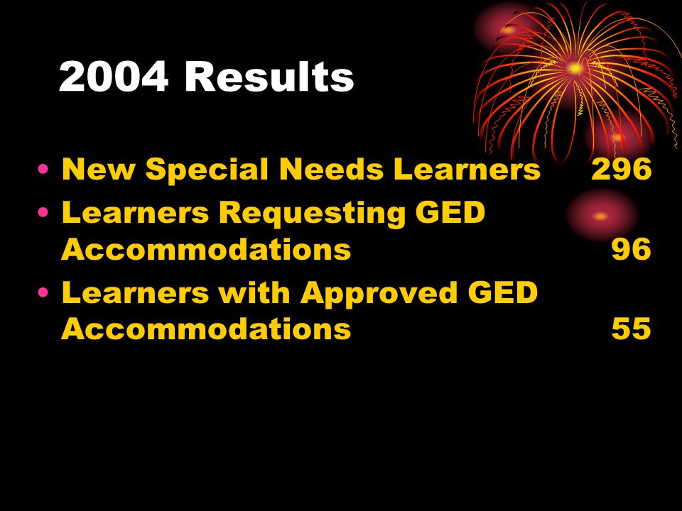 2004 Results New Special Needs Learners 296 Learners Requesting GED Accommodations 96 Learners with Approved GED Accommodations 55