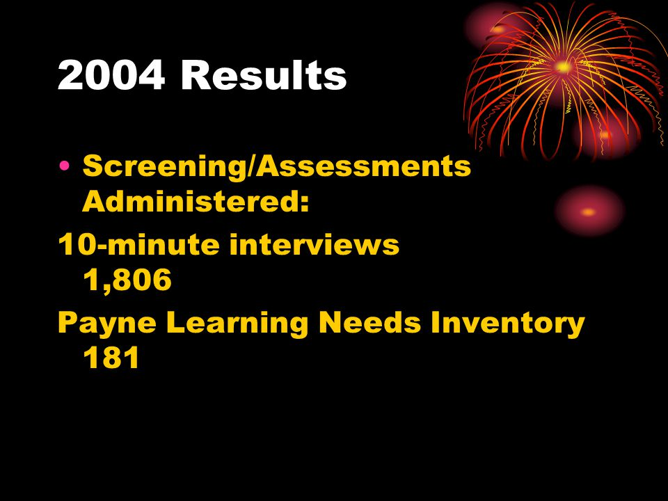 2004 Results Screening/Assessments Administered: 10-minute interviews 1,806 Payne Learning Needs Inventory 181
