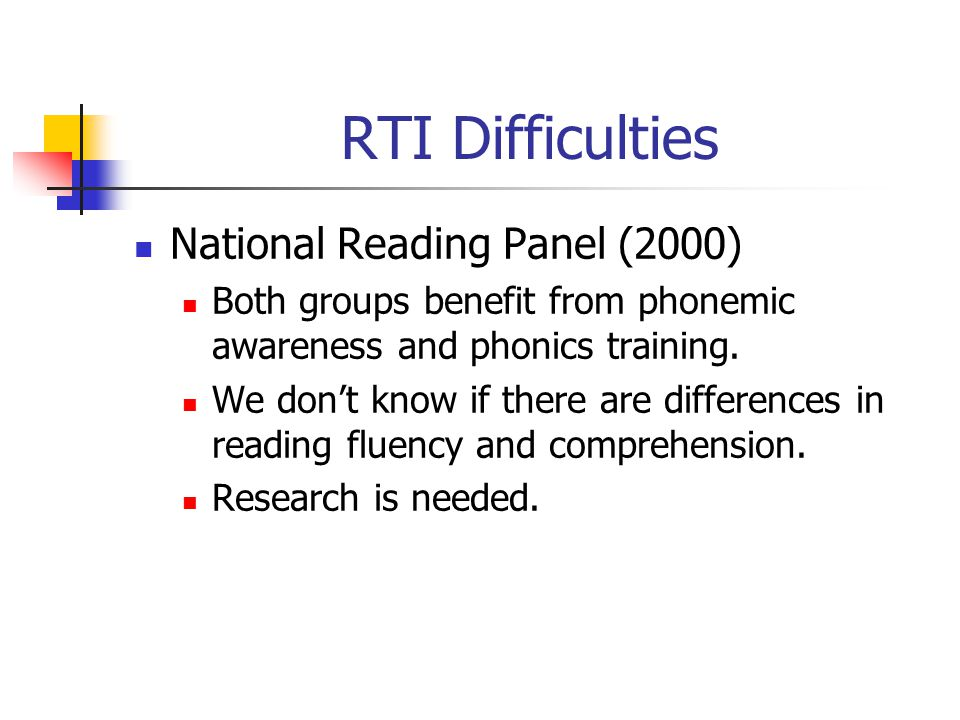 RTI Difficulties National Reading Panel (2000) Both groups benefit from phonemic awareness and phonics training. We don't know if there are difference