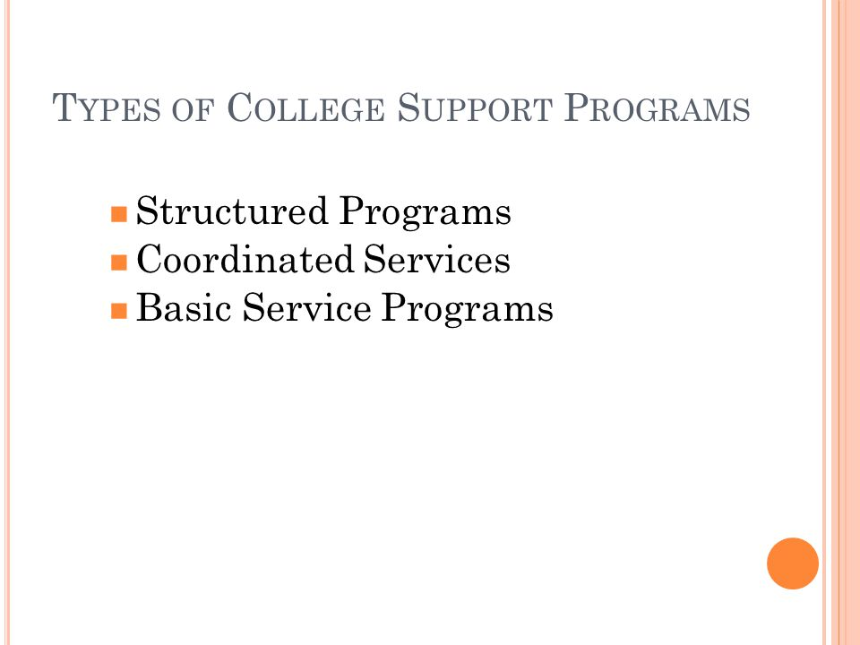 T YPES OF C OLLEGE S UPPORT P ROGRAMS Structured Programs Coordinated Services Basic Service Programs