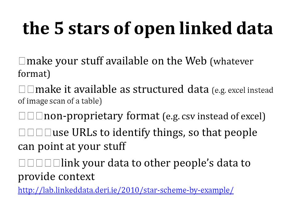the 5 stars of open linked data ★ make your stuff available on the Web (whatever format) ★★ make it available as structured data (e.g.