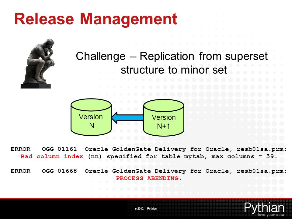 © 2012 – Pythian Release Management ERROR OGG-01161 Oracle GoldenGate Delivery for Oracle, resb01sa.prm: Bad column index (nn) specified for table myt