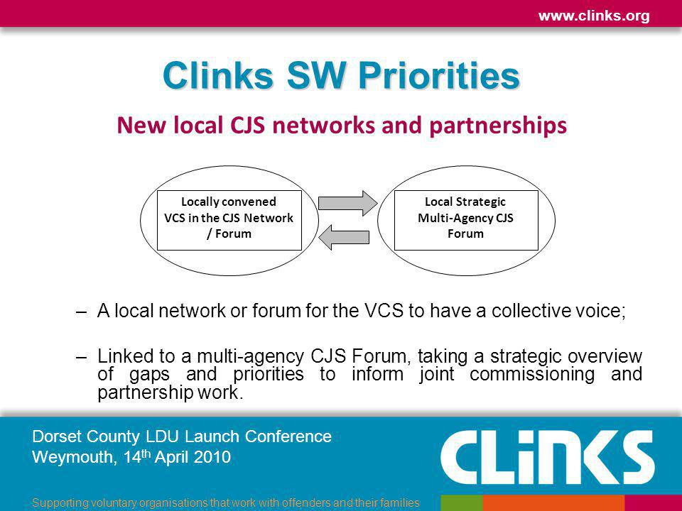 Dorset County LDU Launch Conference Weymouth, 14 th April 2010 www.clinks.org Supporting voluntary organisations that work with offenders and their families Clinks SW Priorities New local CJS networks and partnerships –A local network or forum for the VCS to have a collective voice; –Linked to a multi-agency CJS Forum, taking a strategic overview of gaps and priorities to inform joint commissioning and partnership work.