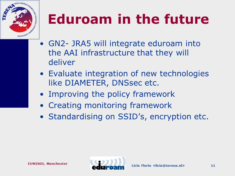 Licia Florio EUNIS05, Manchester 11 Eduroam in the future GN2- JRA5 will integrate eduroam into the AAI infrastructure that they will deliver Evaluate integration of new technologies like DIAMETER, DNSsec etc.