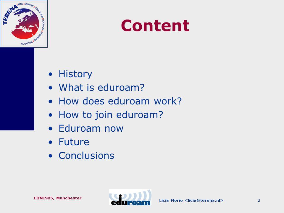 EUNIS05, Manchester 2 Content History What is eduroam.