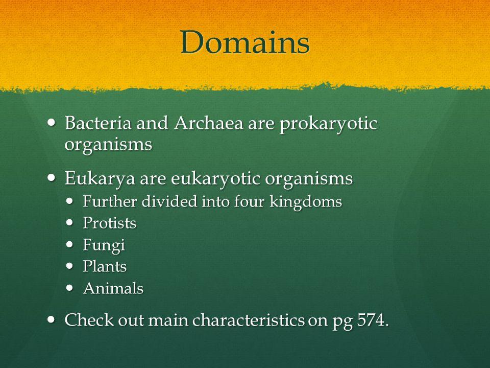 Domains Bacteria and Archaea are prokaryotic organisms Bacteria and Archaea are prokaryotic organisms Eukarya are eukaryotic organisms Eukarya are euk