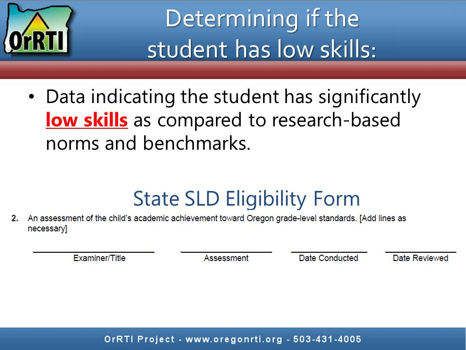 Data indicating the student has significantly low skills as compared to research-based norms and benchmarks.