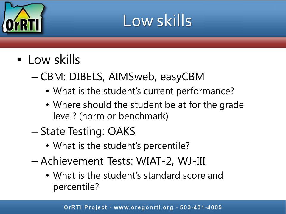 Low skills – CBM: DIBELS, AIMSweb, easyCBM What is the student's current performance.