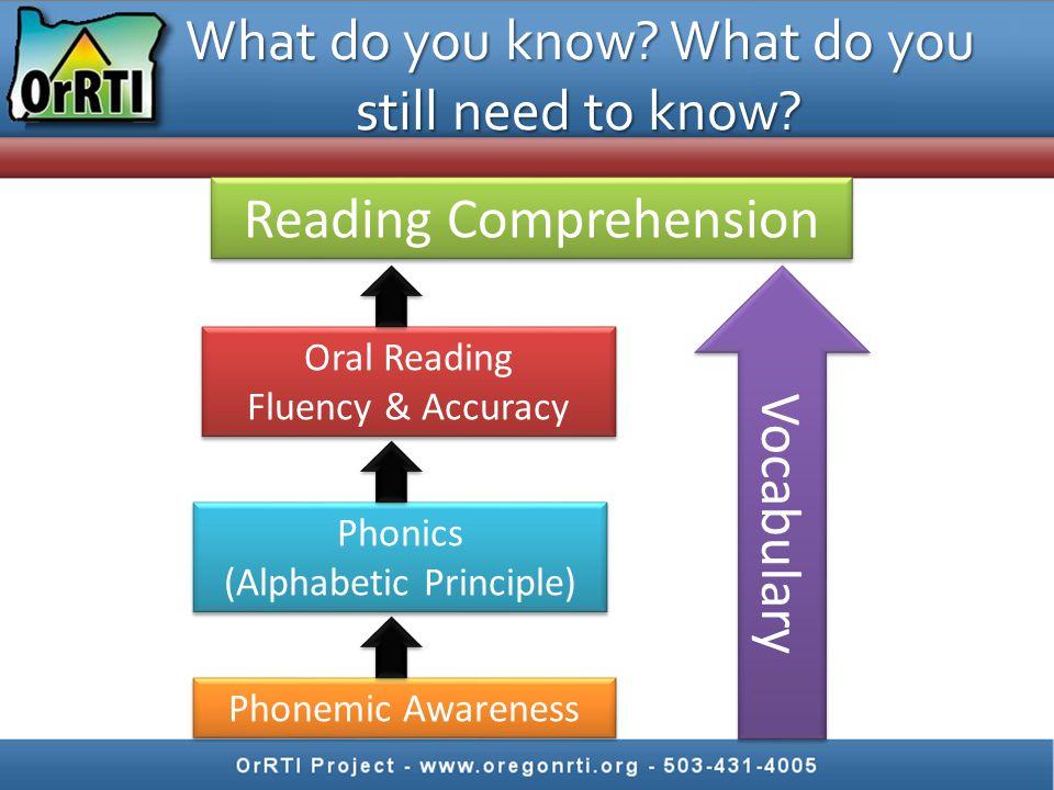 Vocabulary Reading Comprehension Phonemic Awareness Phonics (Alphabetic Principle) Phonics (Alphabetic Principle) Oral Reading Fluency & Accuracy Oral Reading Fluency & Accuracy What do you know.