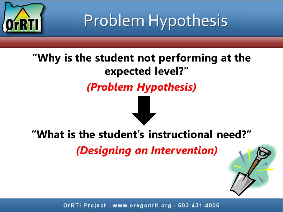 Problem Hypothesis Why is the student not performing at the expected level? (Problem Hypothesis) What is the student's instructional need? (Designing an Intervention)