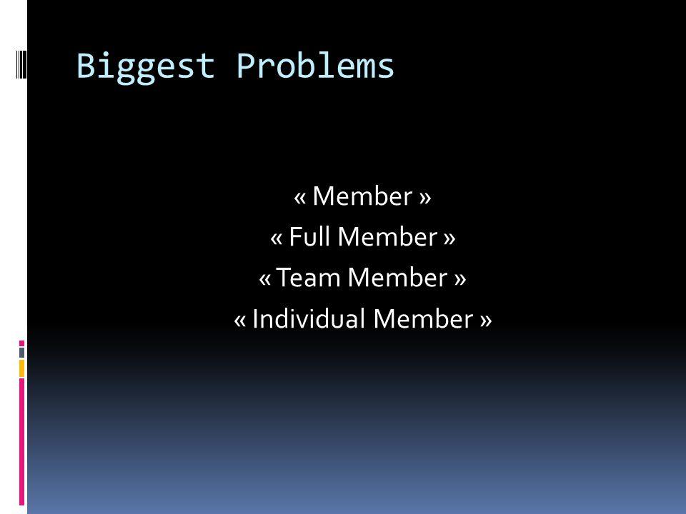 Biggest Problems « Member » « Full Member » « Team Member » « Individual Member »