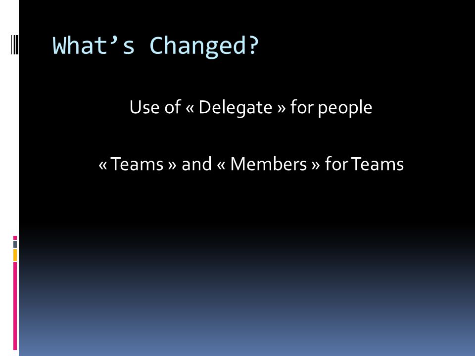 What's Changed Use of « Delegate » for people « Teams » and « Members » for Teams