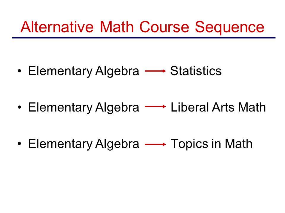 Alternative Math Course Sequence Elementary Algebra Statistics Elementary Algebra Liberal Arts Math Elementary Algebra Topics in Math