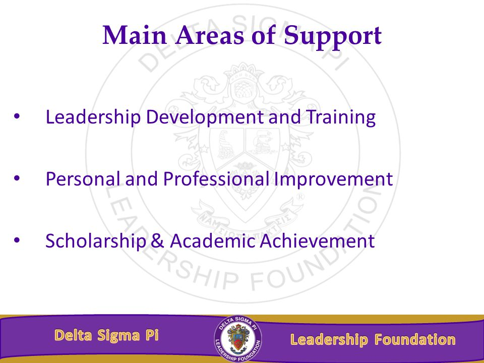 Main Areas of Support Leadership Development and Training Personal and Professional Improvement Scholarship & Academic Achievement