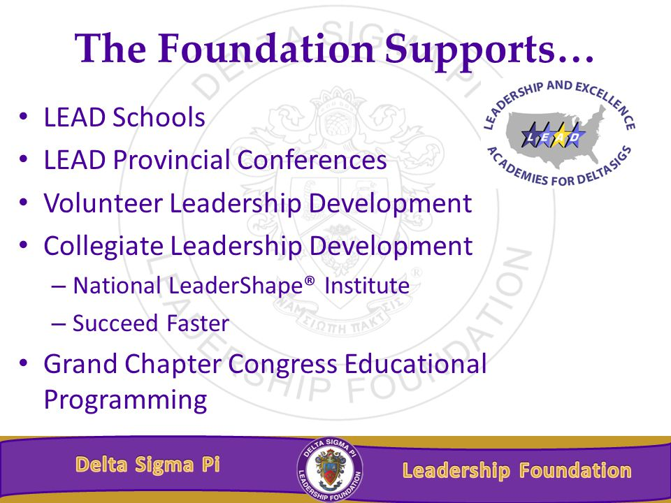 The Foundation Supports… LEAD Schools LEAD Provincial Conferences Volunteer Leadership Development Collegiate Leadership Development – National LeaderShape® Institute – Succeed Faster Grand Chapter Congress Educational Programming