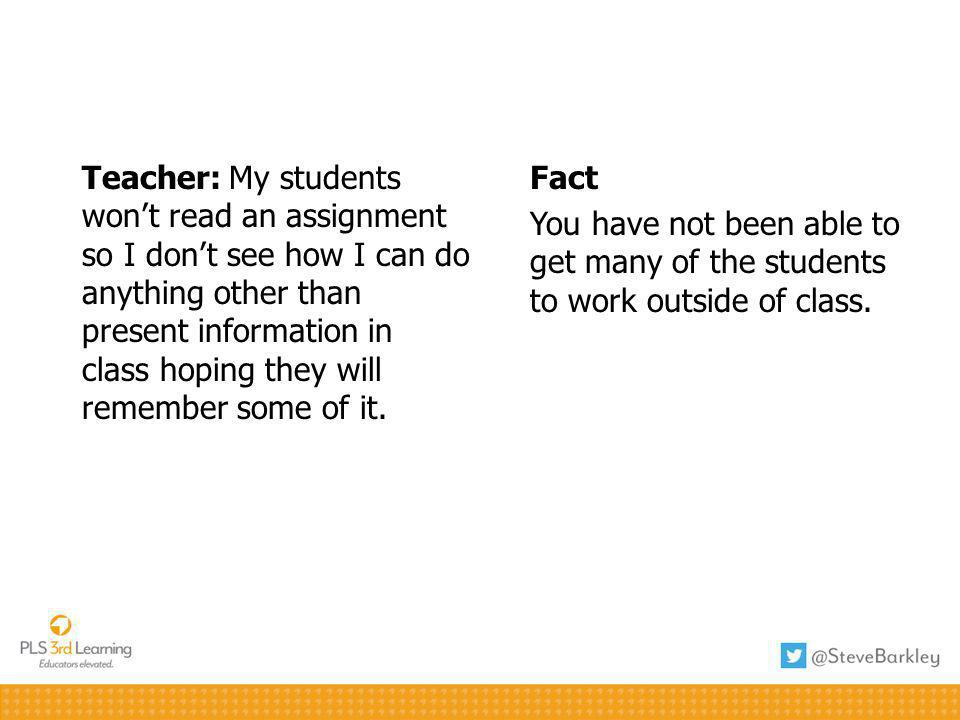 Fact You have not been able to get many of the students to work outside of class.